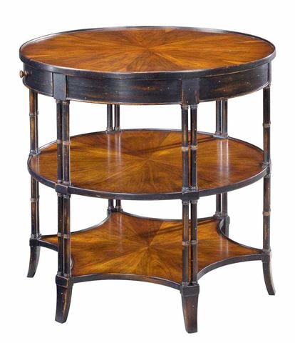 Sarreid Ltd. - Ebony Churchill Round Table With Shelf - 24381-1