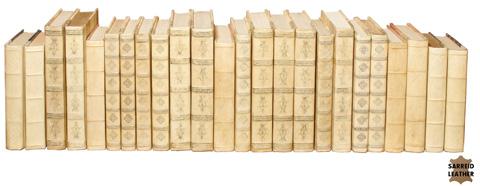 Sarreid Ltd. - Set of 24 White Leather & Paper Books - 24902