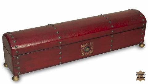 Sarreid Ltd. - Telescope Red Leather Box - 25534