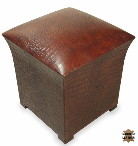 Sarreid Ltd. - Bayou Croc Leather Stool - 25542