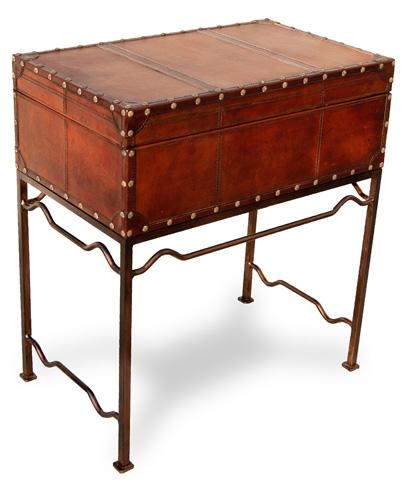 Sarreid Ltd. - Studded Leather Box On Stand - 26176
