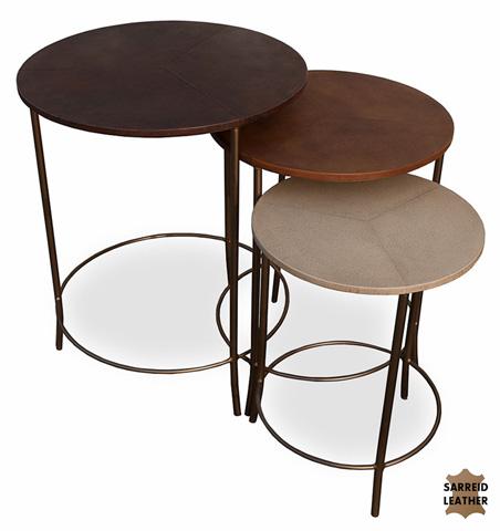 Sarreid Ltd. - Round Leather Bunching Tables - 26504