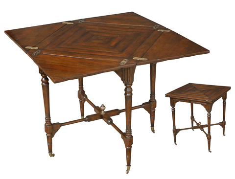 Image of French Walnut Handkerchief Game Table