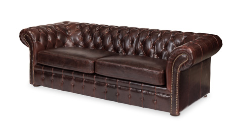 Sarreid Ltd. - Piccadilly 3 Seat Sofa Club Leather - 27729