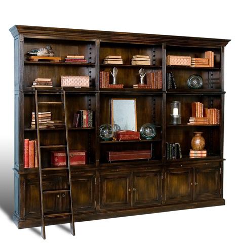 Sarreid Ltd. - Antique Oak Ebony Royal Library Cabinet - 28698