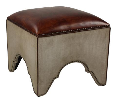 Sarreid Ltd. - Elegant Arches Stool Canvas & Leather - 29078