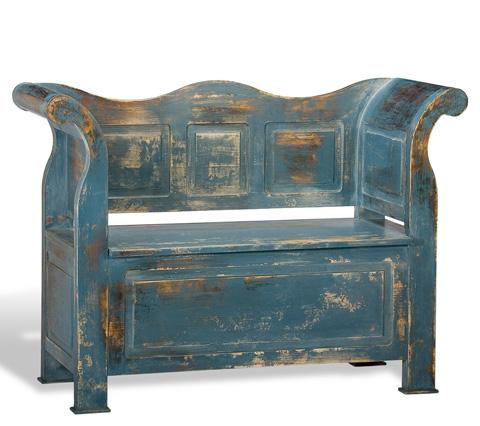 Sarreid Ltd. - Open Front Disrupt Blue Bavarian Bench - R017-49