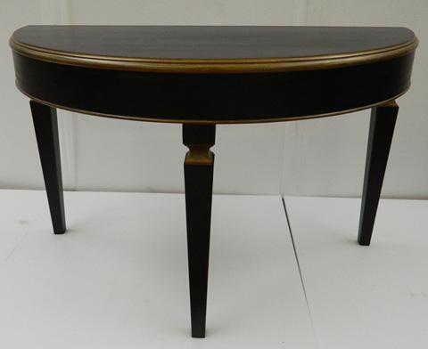 Sarreid Ltd. - Powder Black & Gold Marina Demilune Table - R057-20