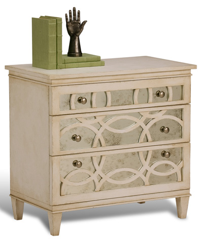Image of Stucco White Virna Mirrored Chest