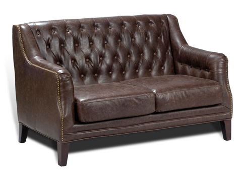 Image of Brooks Leather Tufted Two Seat Sofa