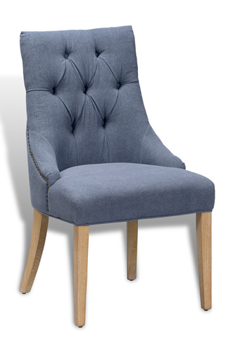 Sarreid Ltd. - Slipper Dining Chair in Blue Linen - 29287