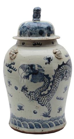 Sarreid Ltd. - Large Dragon Ceramic Vessel - 29711