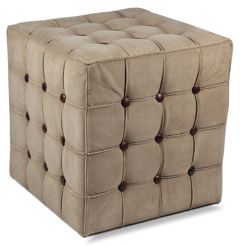 Sarreid Ltd. - Canvas/Leather Tufted Stool - 29857