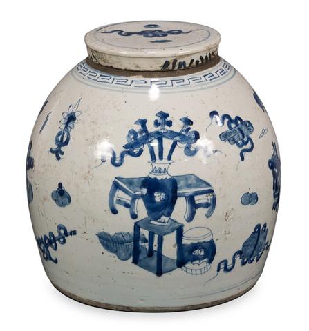 Sarreid Ltd. - Blue & White Round Vase - 29887