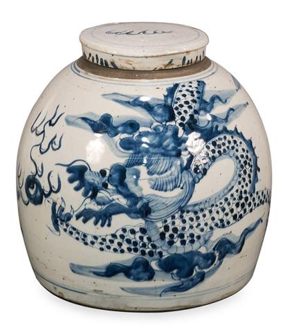 Sarreid Ltd. - Blue & White Round Vase - 29888