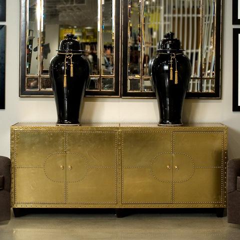 Sarreid Ltd. - 1920's Modern Brass Clad Buffet - 30161