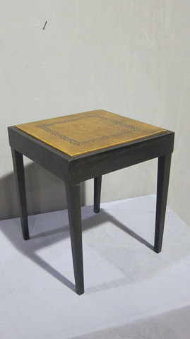 Sarreid Ltd. - Small Square Leather Top Side Table - SFV315AS