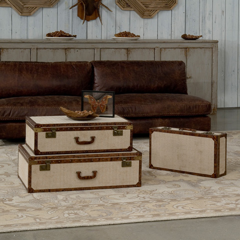 Sarreid Ltd. - Tan Suitcase-Set of Three - 28522