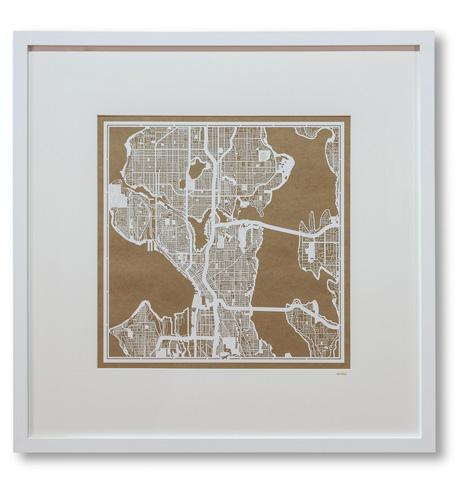 Sarreid Ltd. - Large Seattle Framed Map - 30345