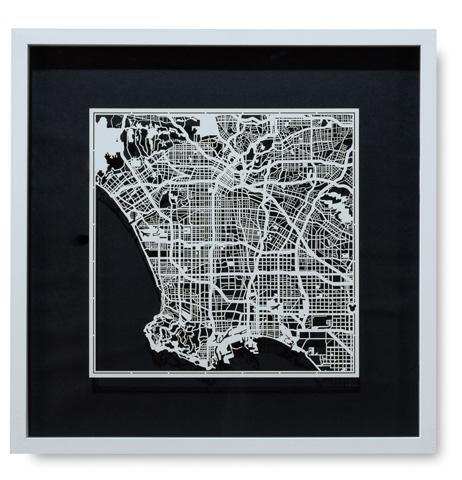 Sarreid Ltd. - Small Los Angeles Framed Map - 30358