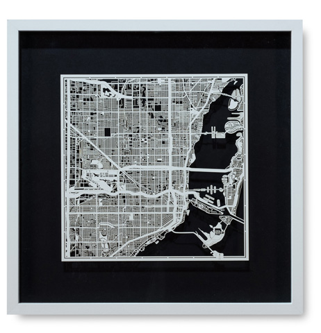 Sarreid Ltd. - Small Miami Framed Map - 30360