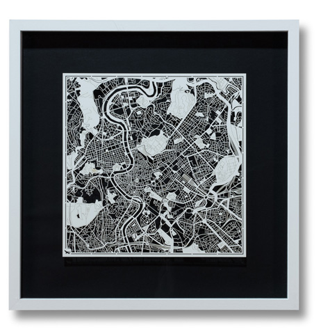 Sarreid Ltd. - Small Rome Framed Map - 30370