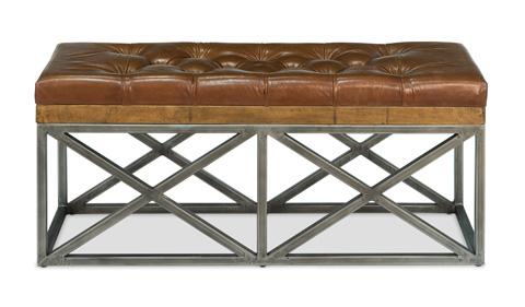 Image of Leather Cushion Double Bench