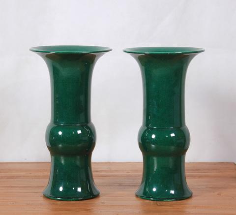 Sarreid Ltd. - Green Glazed Crackled Baluster Vases - Pair - SA-AN051
