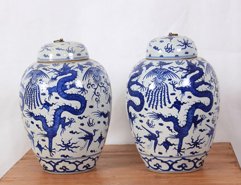 Sarreid Ltd. - Flying Dragon Lidded Vases - Pair - SA-AN065