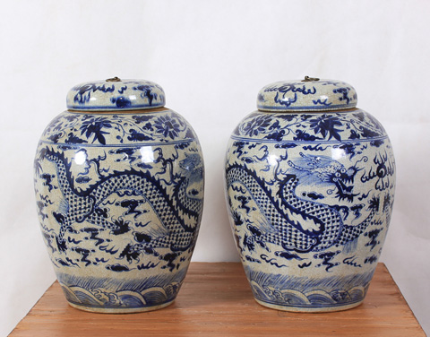 Sarreid Ltd. - Lidded Blue and White Vases - Pair - SA-AN077