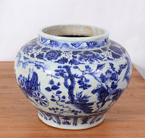 Sarreid Ltd. - Handpainted Blue and White Vase - SA-AN081