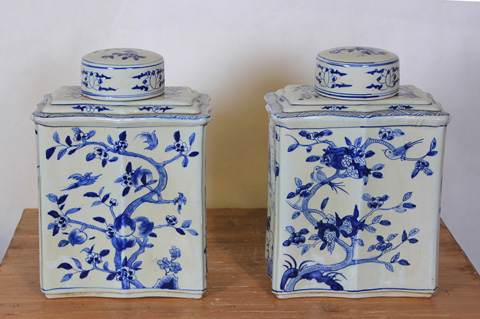 Sarreid Ltd. - Lidded Blue and White Curved Jars - Pair - SA-AN099