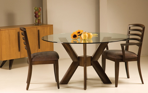 Saloom Furniture - Glass Top Dining Table - MEFO 5454 KBS