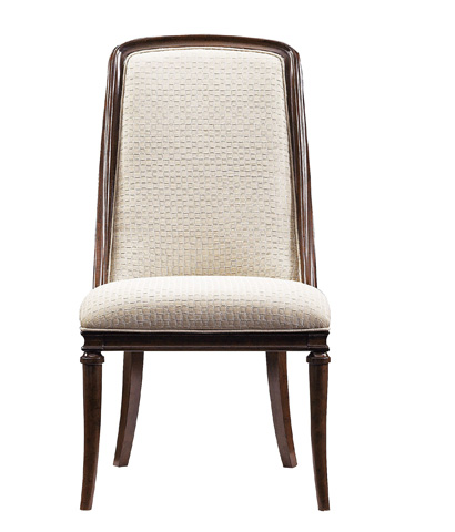 Image of Upholstered Host Chair with Exposed Wood Frame