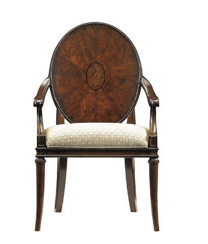 Image of Wood Back Arm Chair with Upholstered Seat