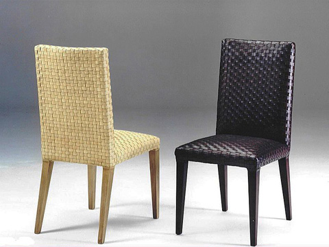 Image of Woven Leather Dining Side Chair