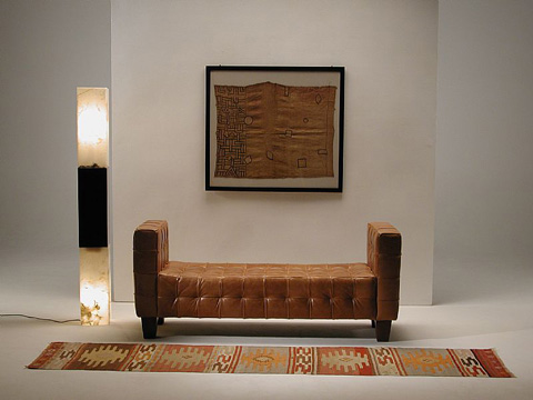 Stone International - Square Tufted Bench with Arms - 0751
