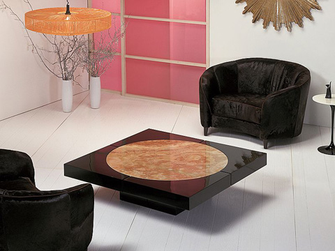 Stone International - Circle in Square Cocktail Table - 8033