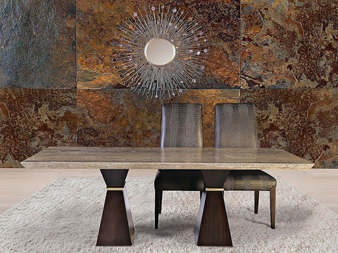 Stone International - Double Pedestal Dining Table - 9986/L