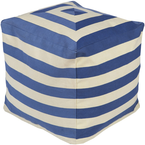 Surya - Cobalt and Cream Striped Pouf - PHPF003-181818