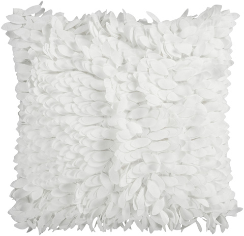Surya - Ivory Polyester Shag Accent Pillow - HH069-1818D