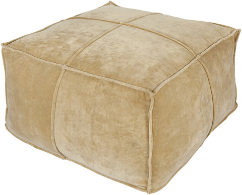 Image of Tan Cotton Velvet Pouf