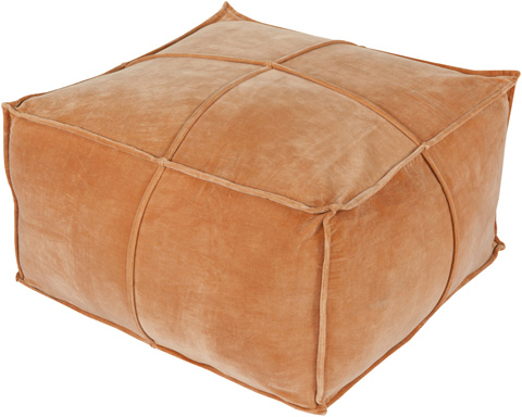 Image of Orange Cotton Velvet Pouf