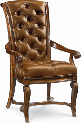 Image of Leather Tufted Arm Chair