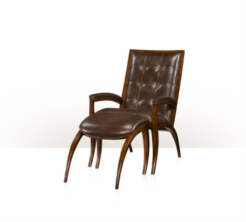 Theodore Alexander - Arc Leather Chair and Ottoman - KENO4108WH