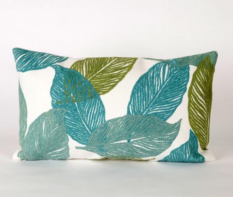 Trans-Ocean Import Co., Inc. - Visions I Mystic Leaf Aqua Pillow - 7SA1S405104