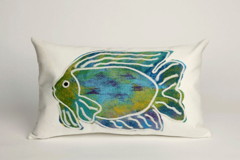 Trans-Ocean Import Co., Inc. - Visions II Batik Fish Aqua Pillow - 7SB1S312404