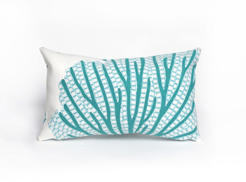 Trans-Ocean Import Co., Inc. - Visions III Coral Fan Aqua Pillow - 7SC1S418504