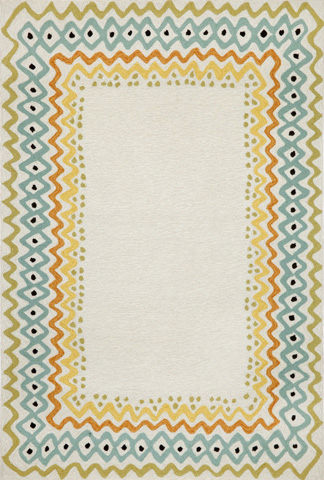 Trans-Ocean Import Co., Inc. - Capri Ethnic Border Pastel 5x8 Rug - CAP57160712