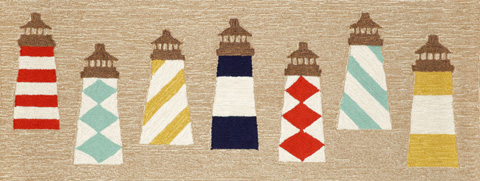 Trans-Ocean Import Co., Inc. - Frontporch Lighthouses Natural 2x8 Rug - FTPR6140112
